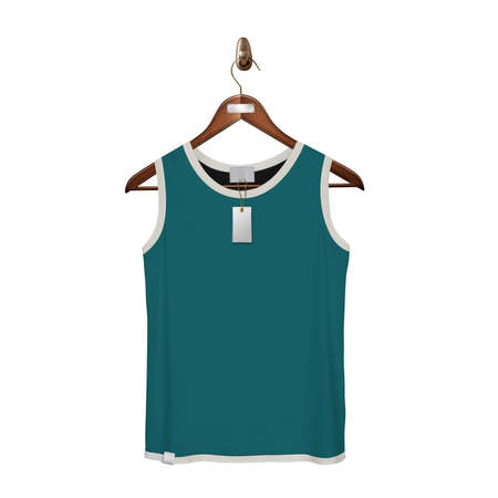 Give a boost to your designing work by using this. Front View Classic Tank Top Mock Up In Green  Color With Hanger.