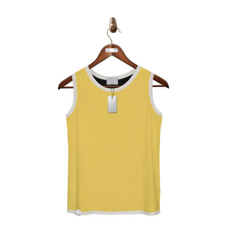Give a boost to your designing work by using this. Front View Classic Tank Top Mock Up In Prime Rose Color With Hanger. Stock Photo
