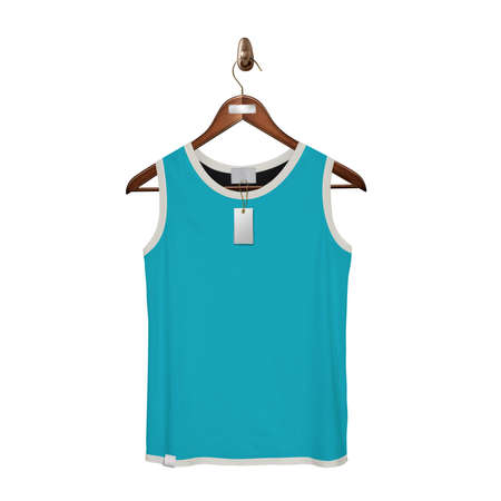 Give a boost to your designing work by using this. Front View Classic Tank Top Mock Up In Scuba Blue Color With Hanger.