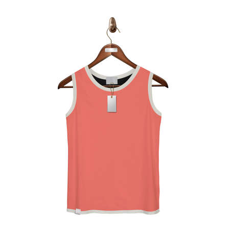 Give a boost to your designing work by using this. Front View Classic Tank Top Mock Up In Living Coral Color With Hanger.