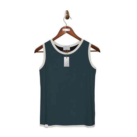 Give a boost to your designing work by using this. Front View Classic Tank Top Mock Up In Royal Black Color With Hanger.