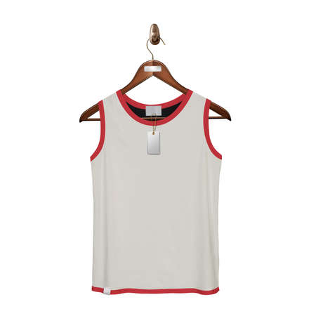 Give a boost to your designing work by using this. Front View Classic Tank Top Mock Up In White Tofu Color With Hanger.