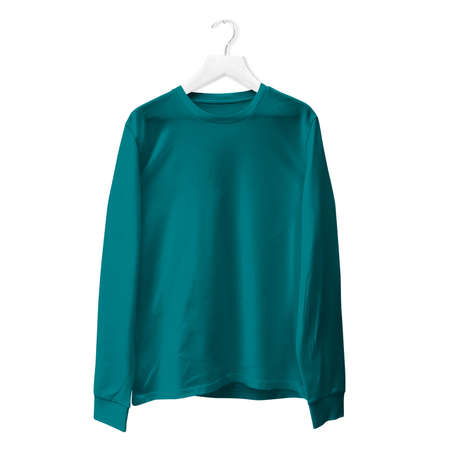 You do not need to be a pro designer if you use this Premium Long Sleeves TShirt Mock Up In Green  Color With Hanger.