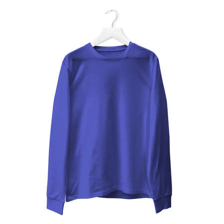 You do not need to be a pro designer if you use this Premium Long Sleeves TShirt Mock Up In Royal Blue Color With Hanger.