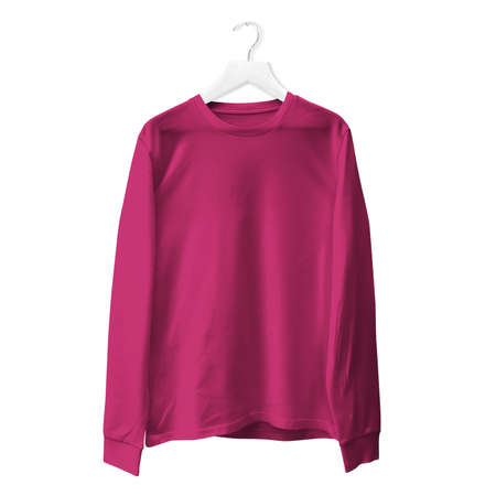 You do not need to be a pro designer if you use this Premium Long Sleeves TShirt Mock Up In Dark Sangria Color With Hanger.