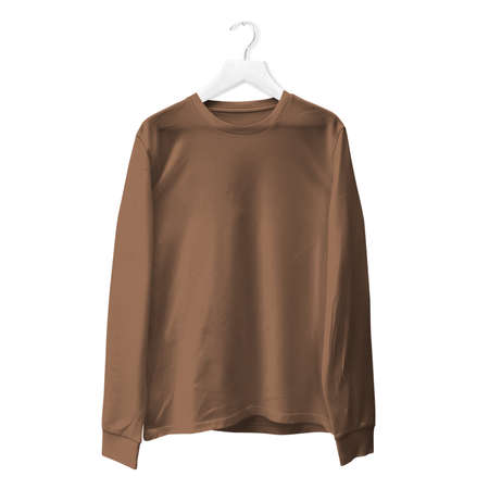 You do not need to be a pro designer if you use this Premium Long Sleeves TShirt Mock Up In Royal Brown Color With Hanger.