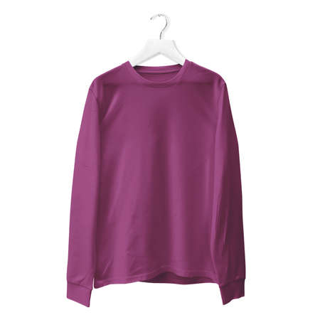 You do not need to be a pro designer if you use this Premium Long Sleeves TShirt Mock Up In Royal Lilac Color With Hanger. 写真素材