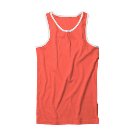 Show off your design like a pro by using this Front View Male Tank Top Tshirt Mock Up In Living Coral Color.
