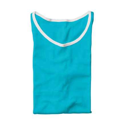 This Folded Male Tank Top Mock Up In Scuba Blue Color is a simple template to help your designs process more faster.