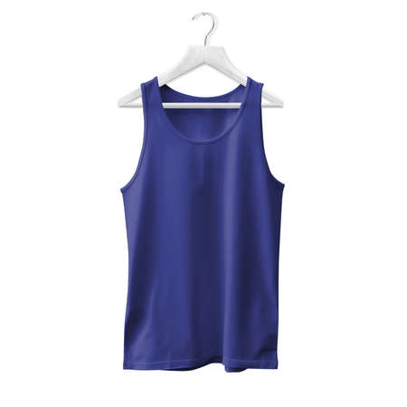 Make your design and logo more real with this Tank Top Mock Up In Royal Blue Color With Hanger For All Gender.