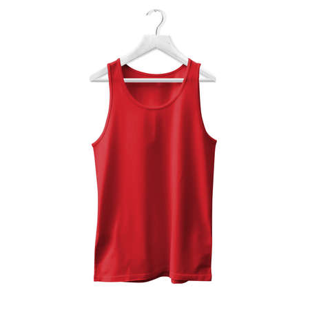 Make your design and logo more real with this Tank Top Mock Up In Flame Scarlet Color With Hanger For All Gender.