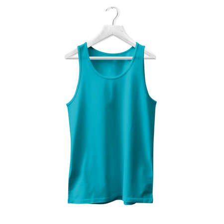 Make your design and logo more real with this Tank Top Mock Up In Scuba Blue Color With Hanger For All Gender. Stock fotó