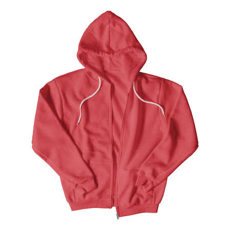 Showcase your design with professional and eye-catching product images, with this Front View Luxurious Hoodie Mockup With Full Zipper In Flame Scarlet Color. Stockfoto