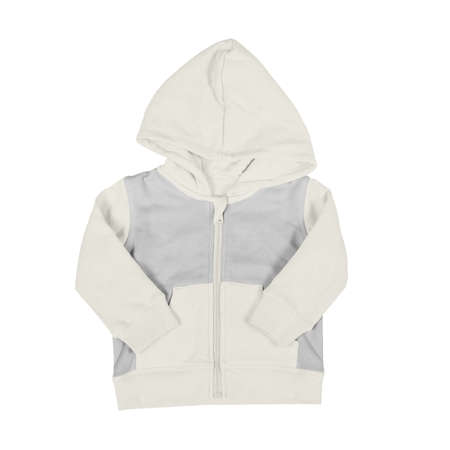 A Front View Zip Up Hoodie Mock Up In White Tofu Color For Baby, to quickly and easily bring your designs to life.