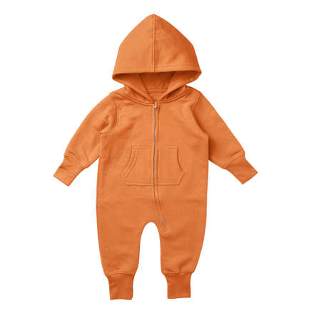 This Front View Premium Baby Fleece Mockup In Sun Orange Color, is printable and can easily be edited using any image editing software.