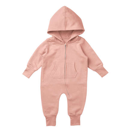 This Front View Premium Baby Fleece Mockup In Peach Melba Color, is printable and can easily be edited using any image editing software.