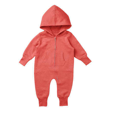 This Front View Premium Baby Fleece Mockup In Hot Coral Color, is printable and can easily be edited using any image editing software. Foto de archivo