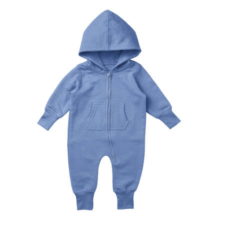 This Front View Premium Baby Fleece Mockup In Corn Flower Blue Color, is printable and can easily be edited using any image editing software.