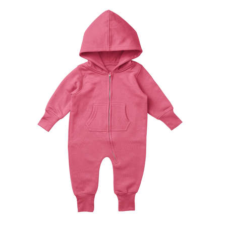 This Front View Premium Baby Fleece Mockup In Camellia Rose Color, is printable and can easily be edited using any image editing software.