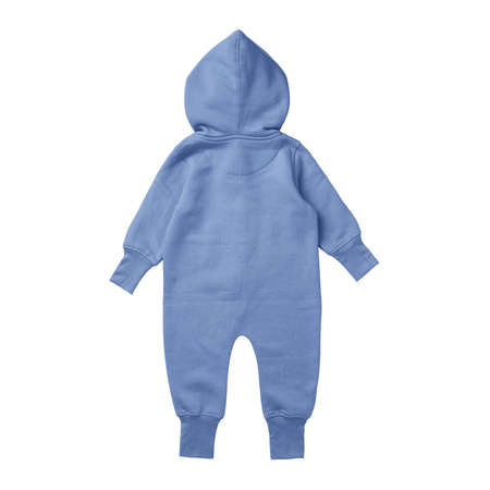 This Back View Premium Baby Fleece Mockup In Corn Flower Blue Color, create for businesses to market their items in a clever and inexpensive way.