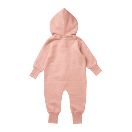 This Back View Premium Baby Fleece Mockup In Peach Melba Color, create for businesses to market their items in a clever and inexpensive way. Foto de archivo