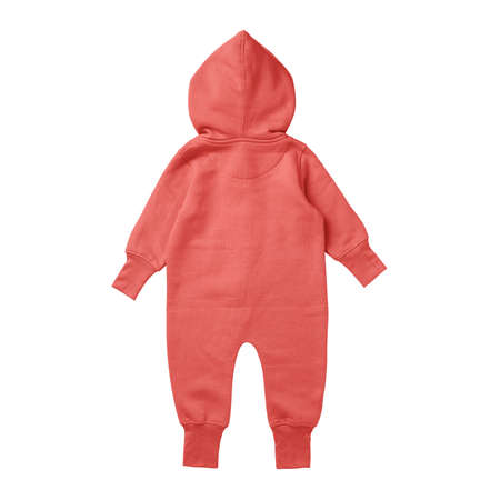 This Back View Premium Baby Fleece Mockup In Hot Coral Color, create for businesses to market their items in a clever and inexpensive way. Foto de archivo