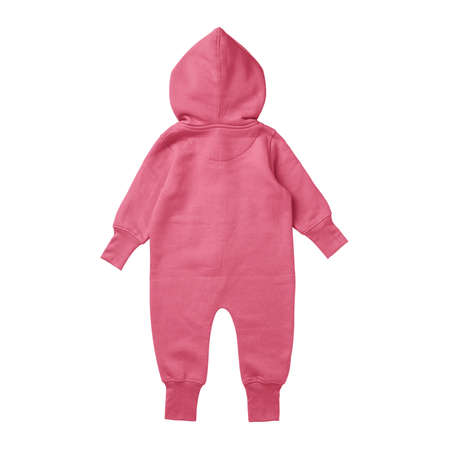 This Back View Premium Baby Fleece Mockup In Camellia Rose Color, create for businesses to market their items in a clever and inexpensive way.