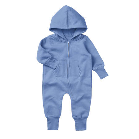 Give a professional touch to your design with this Front View Beautiful Baby Fleece Mock Up In Corn Flower Blue Color.
