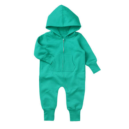 Give a professional touch to your design with this Front View Beautiful Baby Fleece Mock Up In Aqua Green Color.