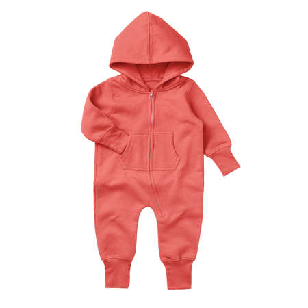 Give a professional touch to your design with this Front View Beautiful Baby Fleece Mock Up In Hot Coral Color.