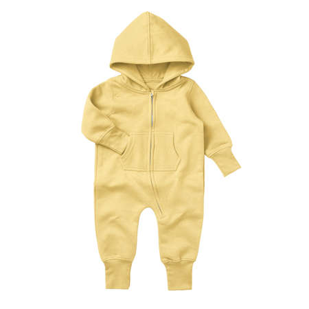 Give a professional touch to your design with this Front View Beautiful Baby Fleece Mock Up In Lemon Meringue Color. Foto de archivo