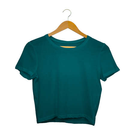 This Front View Sweet Crop Top Mockup In Green Eden Color With Hanger, are intended for you to insert your own artwork to create an image that showcases your final product.