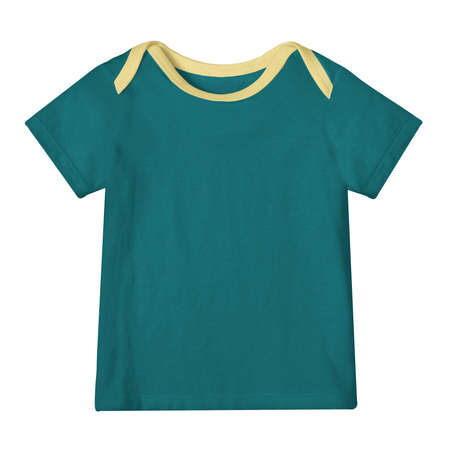 Save time and money with this Baby T Shirt Mockup In Green Eden Color With Shoulder Flaps. It is super easy to use. Zdjęcie Seryjne
