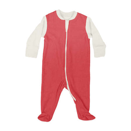 This Front View Sweet Baby Jumpsuit Mock Up In Flame Scarlet Color, is a perfect way to showcase your creations without having to spend a ton of money on individual products