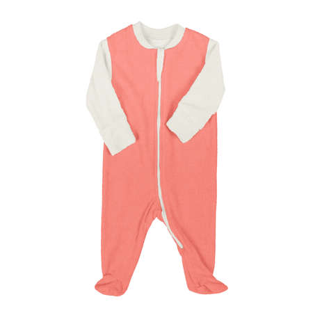 Place your design, artwork or typography on top of this Front View Lovely Baby Jumpsuit Mockup In Living Coral Color, and you are ready to list them in your shop.