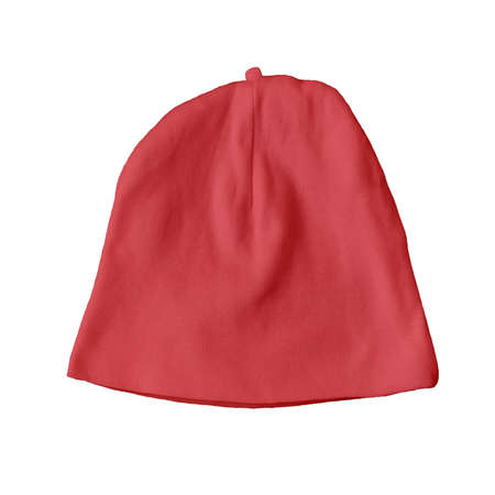 Cute Baby Hat Mock Up In Flame Scarlet Color. Professional looking mockup to place your own design