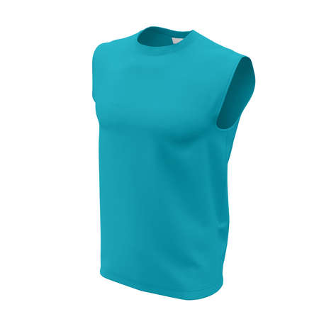 This Side View, Muscle Tank Top Mock Up In Scuba Blue Color For Men, is the best way to capture the attention of your customers.