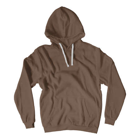Make your stylish photos and never lost your customer with this Front View Amazing Pullover Hoodie Mockup In Royal Brown Color. Stockfoto