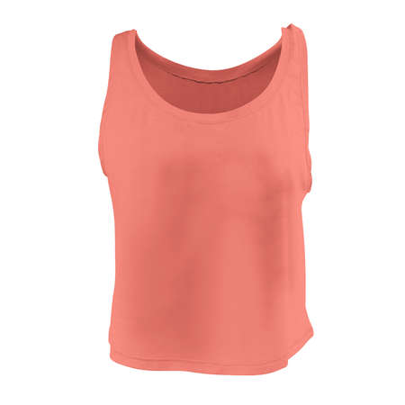 Promote your tank top design across with this Front View Women's Short Tank Top Mockup In Living Coral Color.