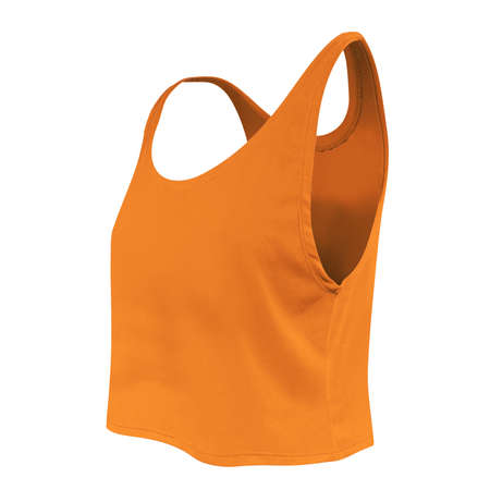 Don't waste your time and money just to make a realistic mock-up. Use this Side View Women's Short Tank Top Mockup In Turmeric Powder Color. It is super easy to use.
