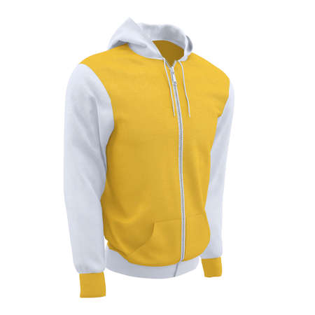 Make your artwork more faster and beautifully, with this Side Perspective View Sweet Men's Full Zipper Hoodie Mockup In Lemon Zest Color.