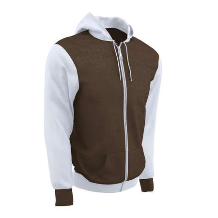 Make your artwork more faster and beautifully, with this Side Perspective View Sweet Men's Full Zipper Hoodie Mockup In Sepia Brown Color.