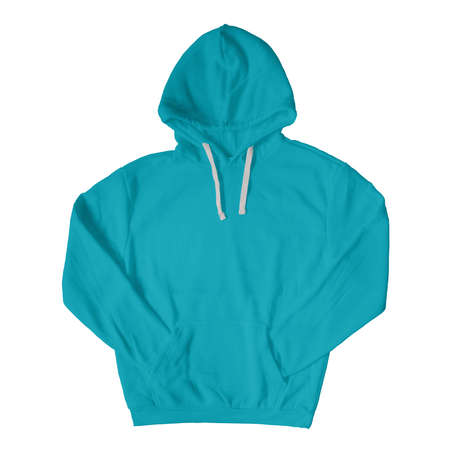 Promote your brand logo and design, with this Front View Stylish Pullover Hoodie Mockup In Scuba Blue Color.