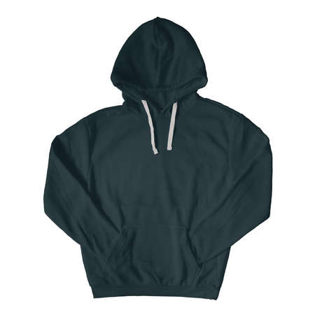 Promote your brand logo and design, with this Front View Stylish Pullover Hoodie Mockup In Royal Black Color.