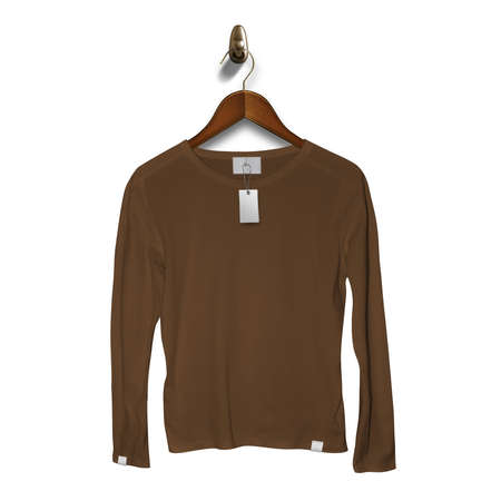 Add your brand designs or logo on this Front View Classy Long Sleeve T Shirt Mockup In Sepia Brown Color With Hanger, for Impressive look.