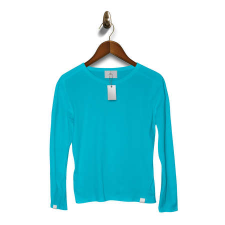 Add your brand designs or logo on this Front View Classy Long Sleeve T Shirt Mockup In Blue Atoll Color With Hanger, for Impressive look.