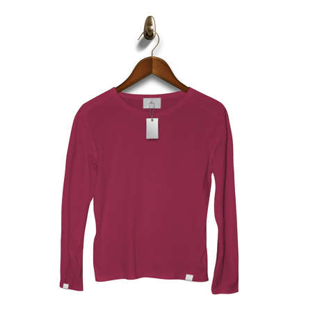 Add your brand designs or logo on this Front View Classy Long Sleeve T Shirt Mockup In Red Bud Color With Hanger, for Impressive look.