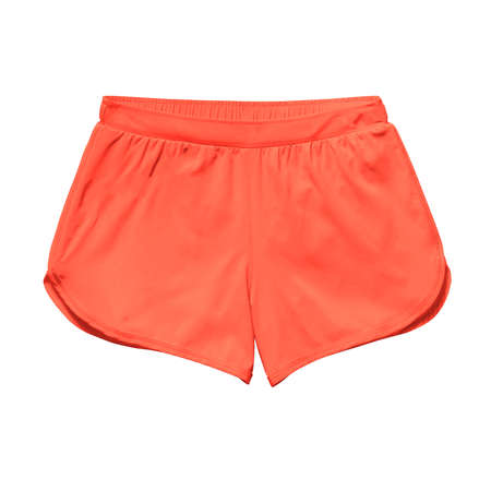 Pasting your graphic into this Front View Fancy Women's Shorts Mockup In Camellia Orange Color and your artwork will become more real
