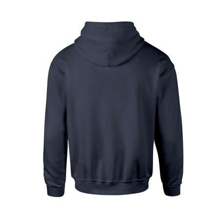Advertise your design ideas with this Back View Luxurious Men Hoodie Mockup In Dark Sapphire Color Without Drawcords. Don't waste your time. Stockfoto