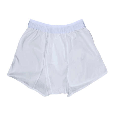 A realistic Front View Impressive Men's Boxer Shorts Mockup In Lucent White Color to help you provide a luxurious design.